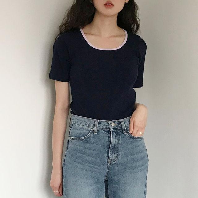 [무료배송]링거 슬림 티셔츠(2color)_플러프-상세이미지1
