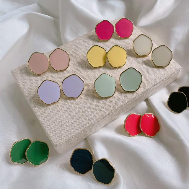(2+1) 10 color 비비드 컬러 라운드 귀걸이 이어링-상세이미지1