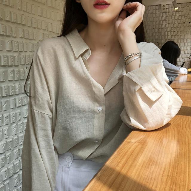 네츄럴 린넨 루즈핏 셔츠(2color)-상세이미지3