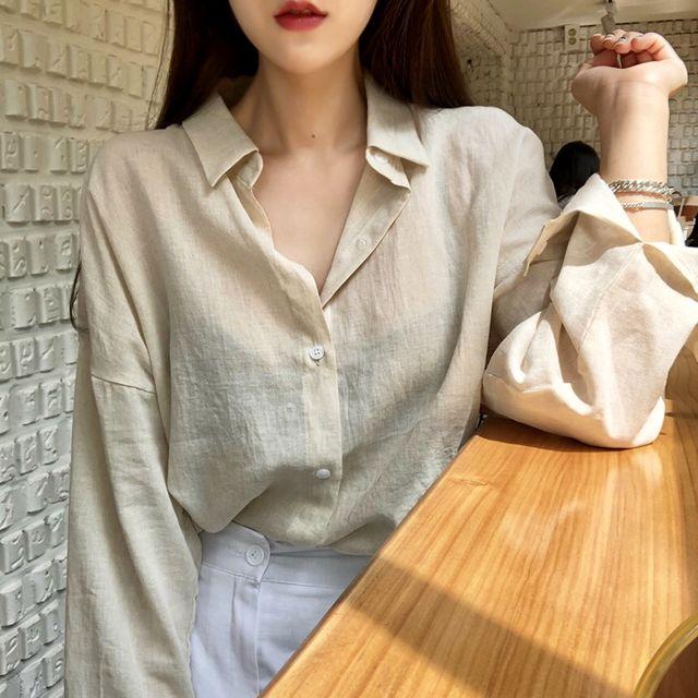 네츄럴 린넨 루즈핏 셔츠(2color)-상세이미지2
