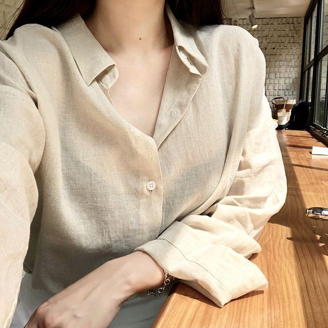 네츄럴 린넨 루즈핏 셔츠(2color)-상세이미지1