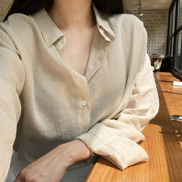 네츄럴 린넨 루즈핏 셔츠(2color)_버튼나인-상세이미지1