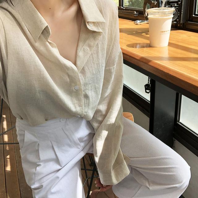 네츄럴 린넨 루즈핏 셔츠(2color)_버튼나인-상세이미지3